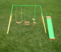 Action Swing Set 3 Unit with Slide and Foam